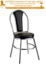 Stainless steel polished dining chair,upholstered PU seat,quick shipment