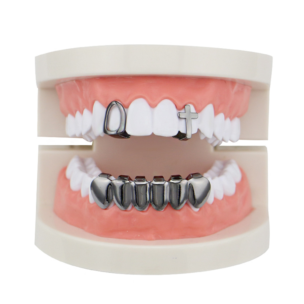 Factory Bottom Price Real Gold Plated Teeth Grillz Set Mixed Design Fake Tooth Grillz Hip-hop Cool Men Body Jewelry US Rap Artist Mouth Cap (4)