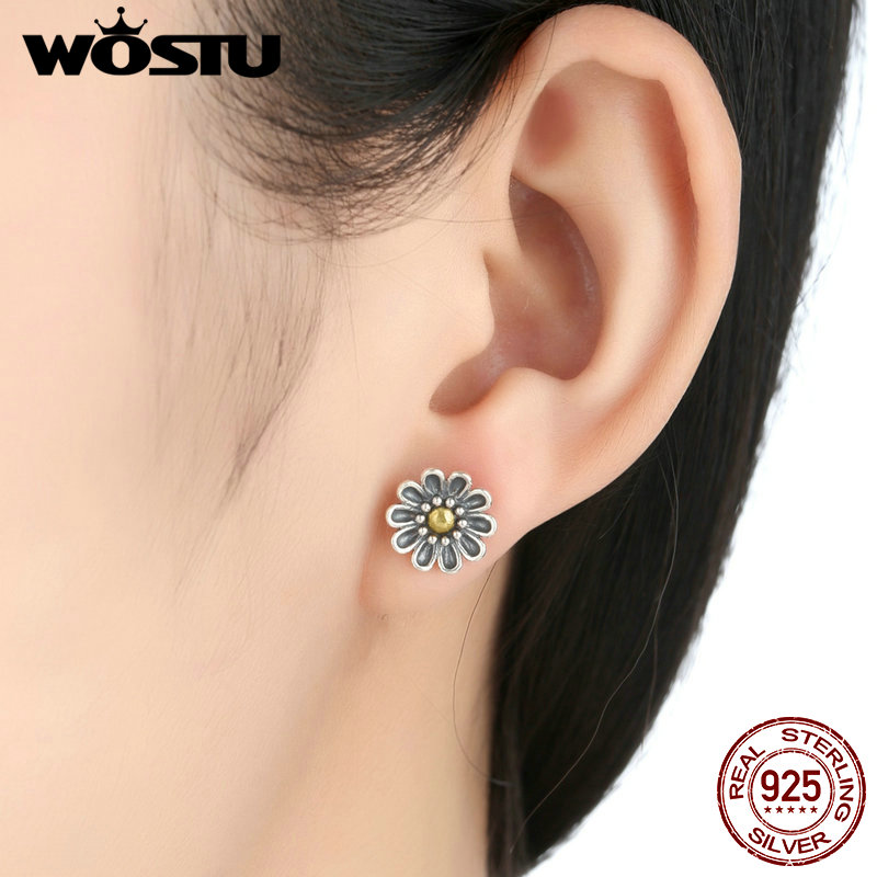 100% Authentic 925 Sterling Silver Chrysanthemum Flower Stud Earrings For Women Compatible with Jewelry Original Gift XCHS455 4