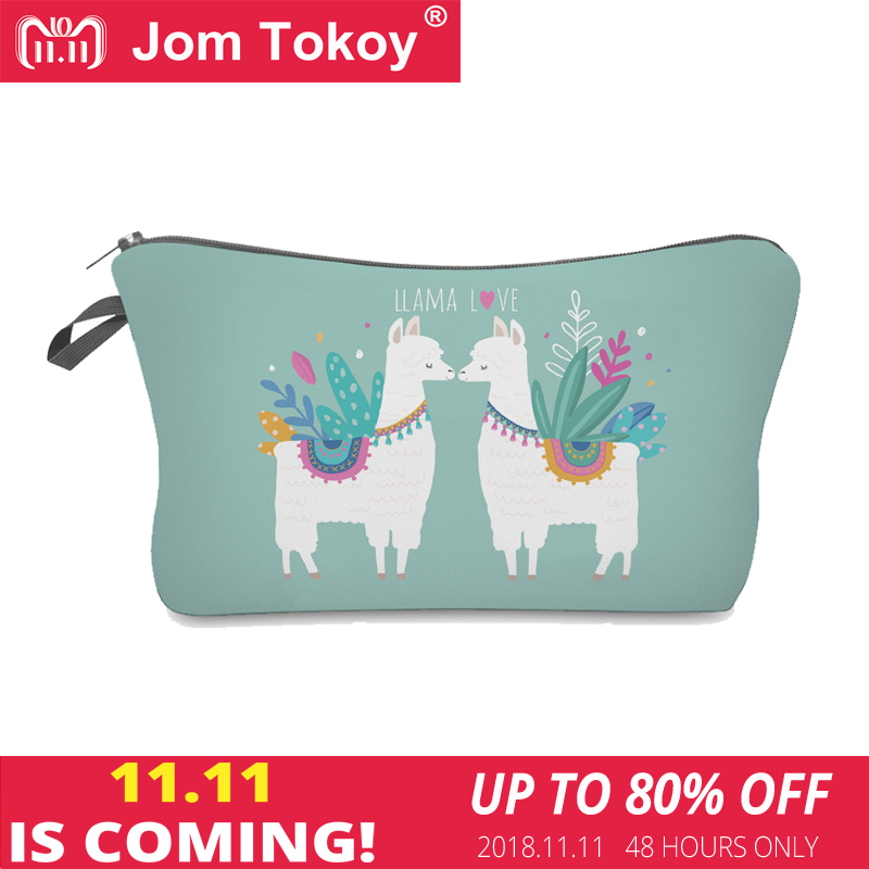 Jom Tokoy 2018 Cosmetic Organizer Bag Make Up Printing Llama Cosmetic Bag Fashion Women Brand Makeup Bag Hzb925 unicorn 3d printing fashion makeup bag maleta de maquiagem cosmetic bag necessaire bags organizer party neceser maquillaje