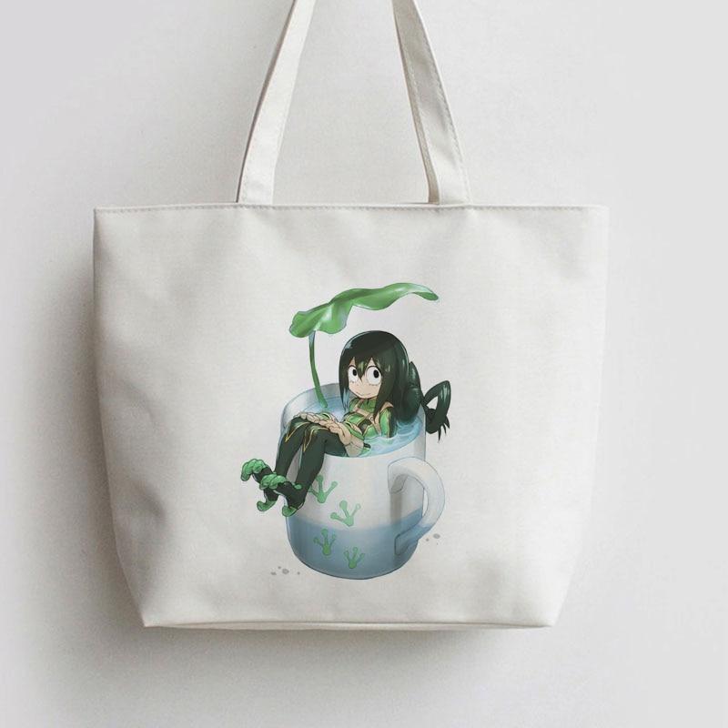 My Hero Academia OCHACO URARAKA .Asui Tsuyu. Anime bag Handbag Canvas bag Cartoon Cute Gift school bag Shopping Tote AN041