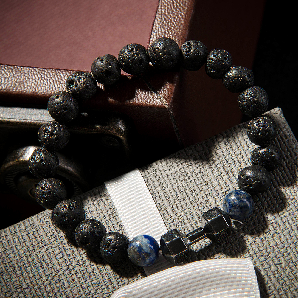 Powerful Mens Gift Alloy Metal Barbell with Lava Rock Stone Beads Fitness Fit Life Dumbbell Bracelets