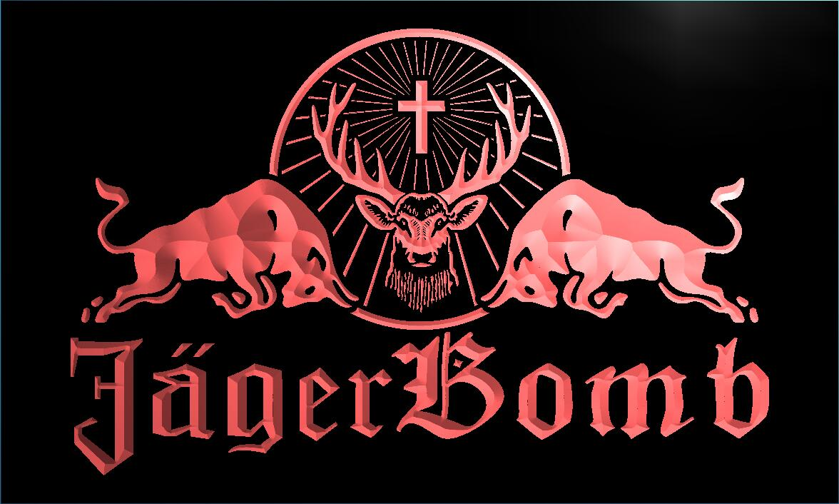 Le233 Jagermeister Jager Bomb Bull Wine Led Neon Sign In