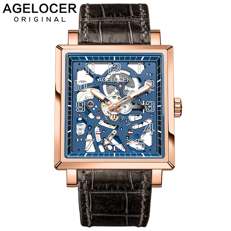 AGELOCER Sapphire Blue Skeleton Dial Mens Watch Swiss Top Brand Luxury Waterproof 50m Automatic Fashion Mechanical Watch Clock