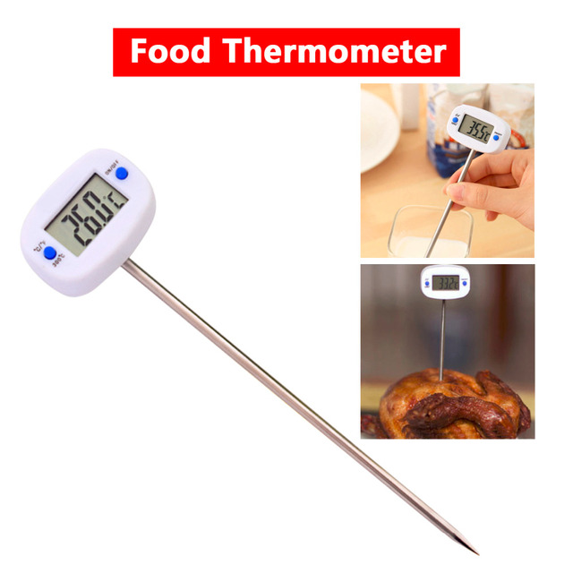 LCD Display Digital Probe Cooking Thermometer Food Temperature Sensor For BBQ Kitchen C/F Switch Silver