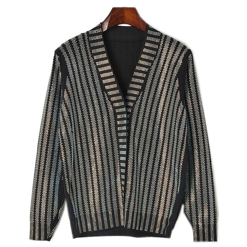 2018 hiver piste noir cristal chandail Designer femmes à manches longues col en V diamant européenne dame pull tricot Cardigan extérieur