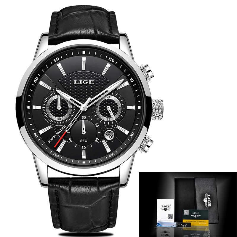 2019 新作メンズウォッチ LIGE トップブランドの高級レザーカジュアルクォーツ腕時計メンズスポーツ防水時計黒腕時計レロジオ Masculino