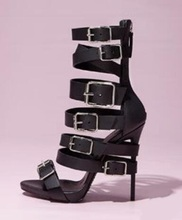 Sexy Nude Black Patent Leather Wrap-Around Buckle Strap Sandal Peep Toe Cut-out Thin Heels Cut-out Cage Shoes For Women modern cut out ball noctilucent necklace for women