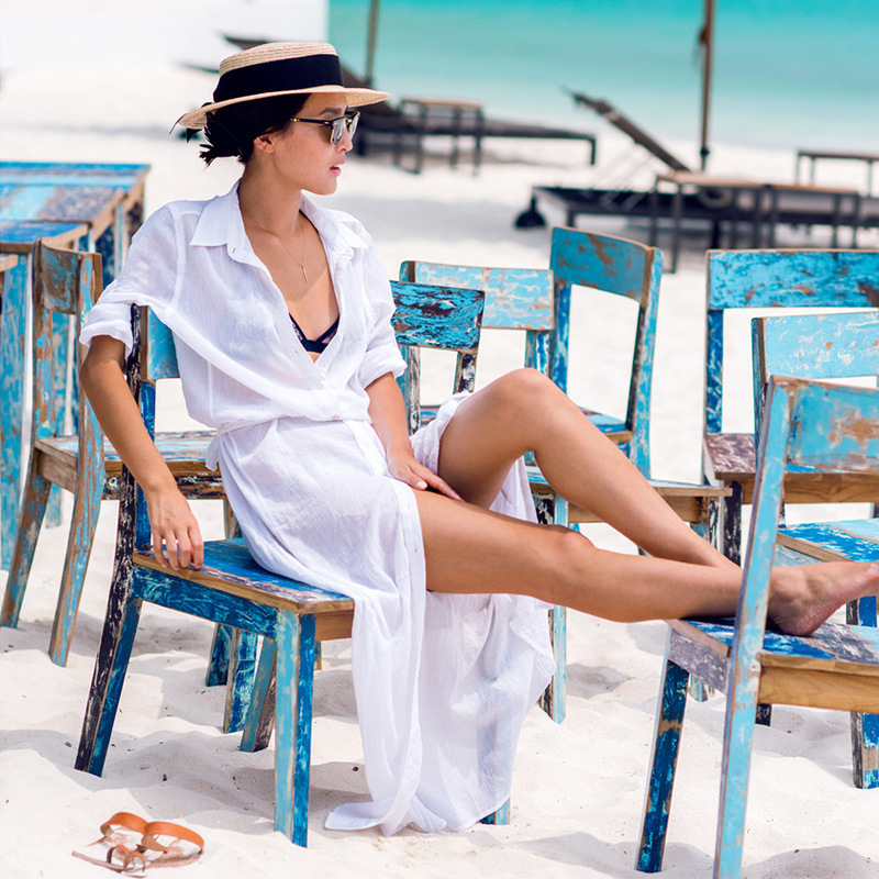 Sexy white blouse Beach dress Cardigan Tunic Chiffon Bikini cover ups Sandy Dress Women Robe De Plage Bathing Suit Cover Ups ...