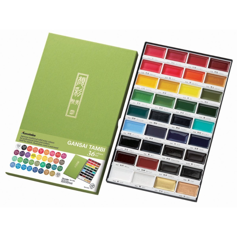 High Quality ZIG Kuretake 12/18/24/36Colors Solid Watercolor Paint Set Paint Pigment Drawing Sketch For Painting Art Supplies