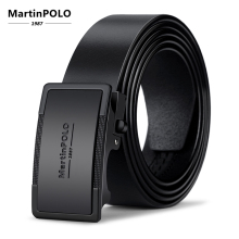 MartinPOLO Men Automatic Buckle Genuine Leather Cowskin Belts Black High Quality Business Male Mens MP01001P
