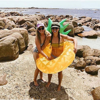 120cm Giant Pineapple Inflatable Swimming Ring Summer Party Pool Float 3
