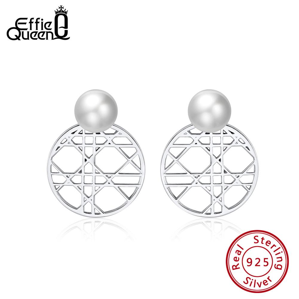 Effie Queen Sterling Silver Women Stud Earrings Round Hallow Pattern Top Simulated Pearl Earing Circle Silver Jewelry 2019 BE159 in Earrings from Jewelry Accessories