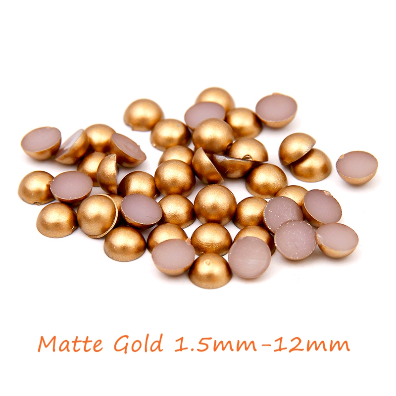 New Matte Gold Half Round Pearls 1.5mm-12mm Imitation Machine Cut Flatback Glue On Resin Beads DIY Jewelry Making Nail Art Phone free shipping imitation pearls chain flatback resin material half pearls chain many styles to choose one roll per lot