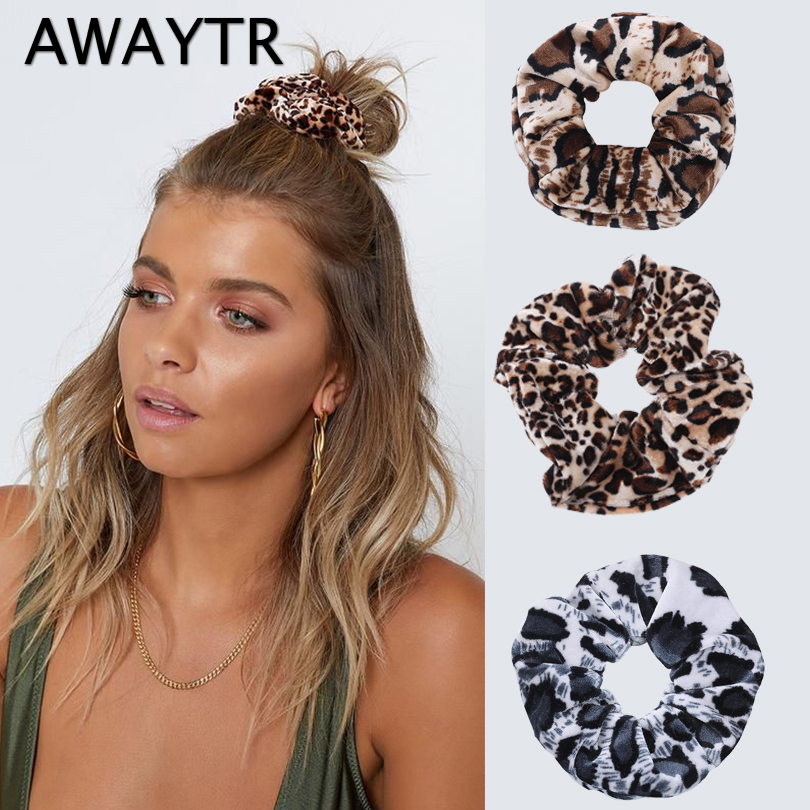 AWAYTR 2Pcs/Set Soft Animal Leopard Velvet Hair Scrunchie Ponytail Holder Stretchy Elastic Hair Band For Women Hair Accessories