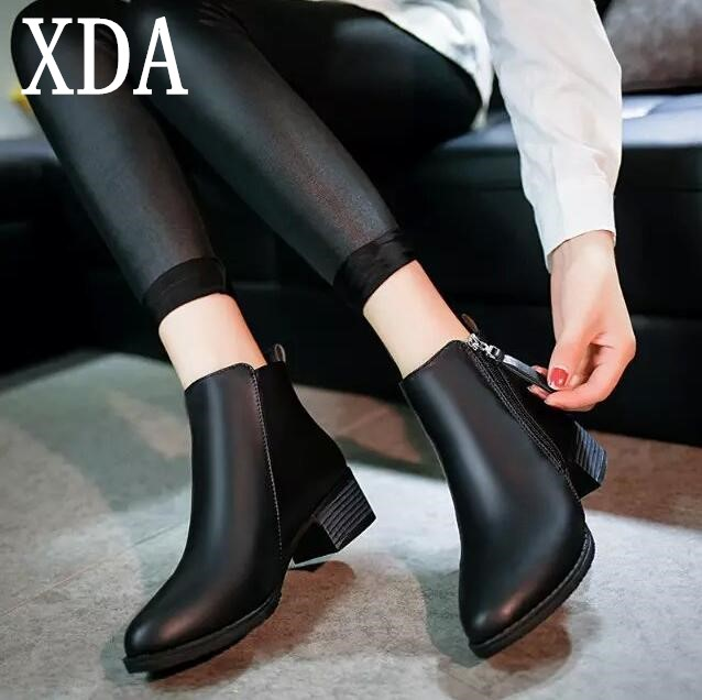 XDA 2018 spring Autumn Women zipper Ankle Boots High Quality Solid European Ladies shoes Leather Fashion Boots Size 35-40 F07 high quality genuine leather women shoes spring and autumn high heels women boots hollow out lace ladies fashion boots