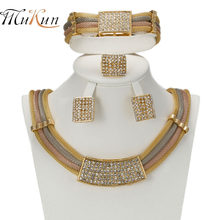 MUKUN 2018 Italy Dubai Necklace Earrings jewelry set Gold color Jewelry Sets Wedding Party Bridal Accessories Costume jewelry(China)