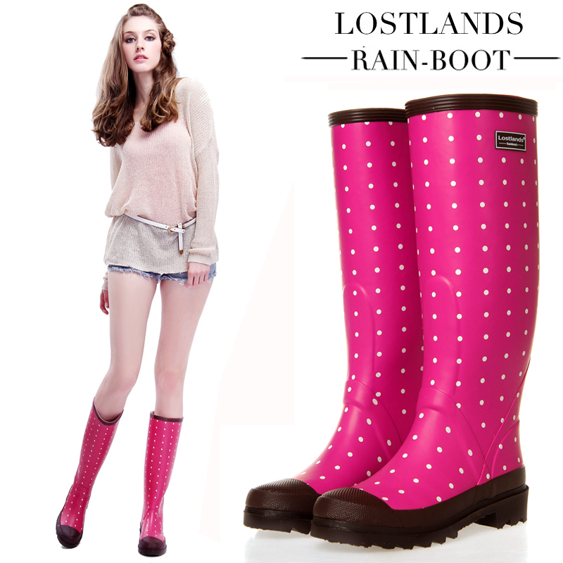 high fashion release date new product Women Rain Boots Fashion Knee High 2017 Pink Crocodile ...