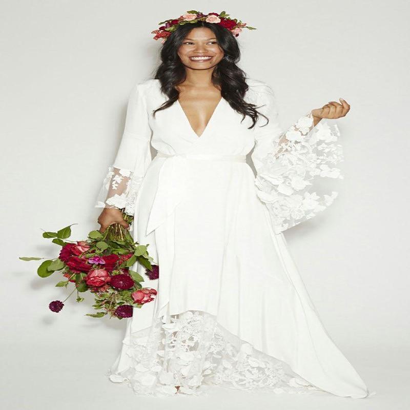 Casamento Boho Deep V neck Beach Wedding Dress 2016 Long Sleeves Floor Length Women Bridal Dresses