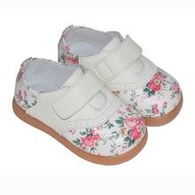 2017 nuevo girls shoes cuero genuino rose imprimir primavera otoño niños plana chaussure zapato nina niños shoes confort hermosa