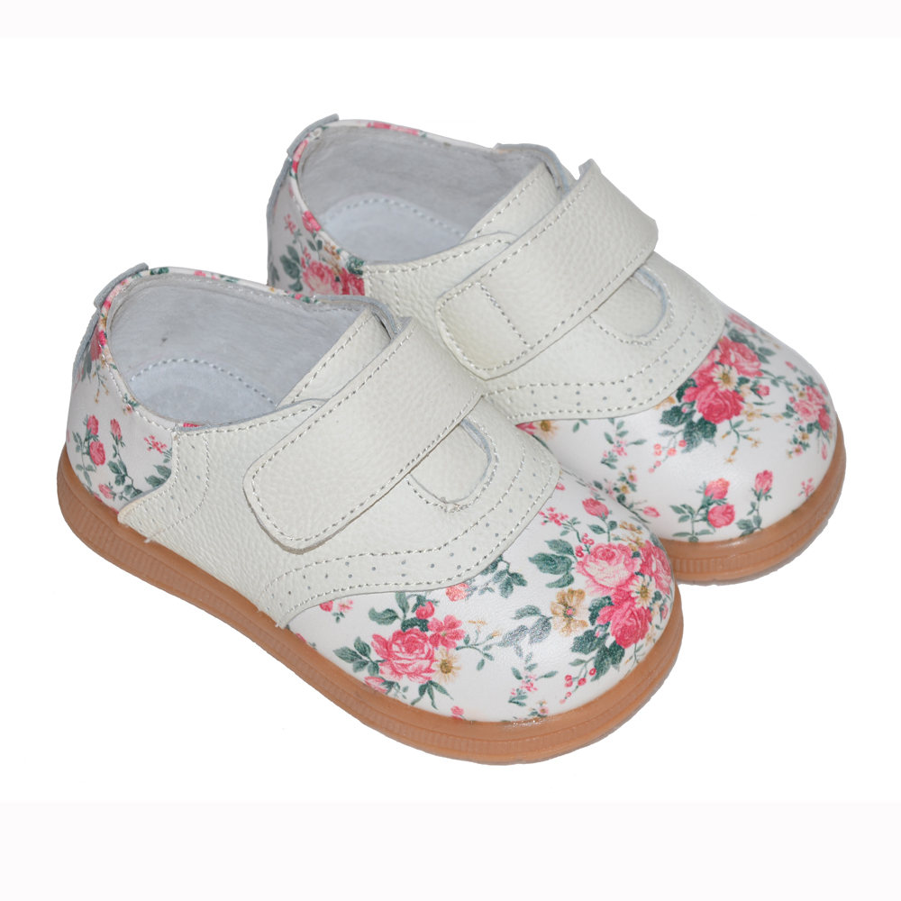 2019 New Girls Shoes Genuine Leather Rose Print Spring Autumn Kids Flat Chaussure Zapato Nina Children Shoes Beautiful Comfort