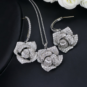 Image 4 - CWWZircons Fashion Brand Women Jewelry Beautiful Micro Pave Cubic Zirconia Flower Drop Pendant Necklace And Earrings Set T065