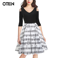 OTEN Plus Size 3xl Retro Dresses Women Sexy Off Shoulder Spring Autumn Striped Music Note Printed