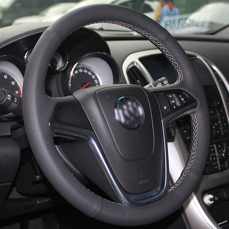 lowest price Shining wheat Hand-stitched Black Leather Car Steering Wheel Cover for Buick Excelle XT GT Encore Opel Mokka