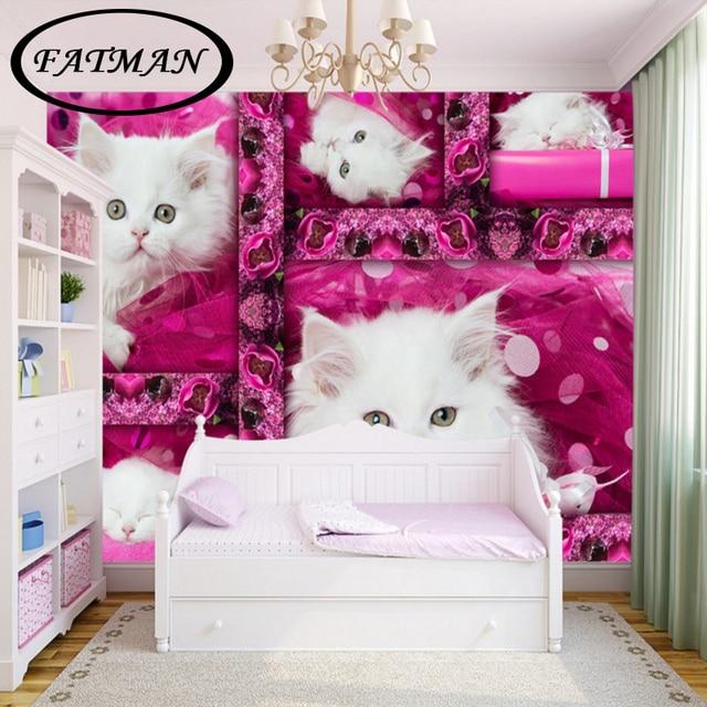Custom 3D foto behang Leuke kitten boudoir behang TV achtergrond ...