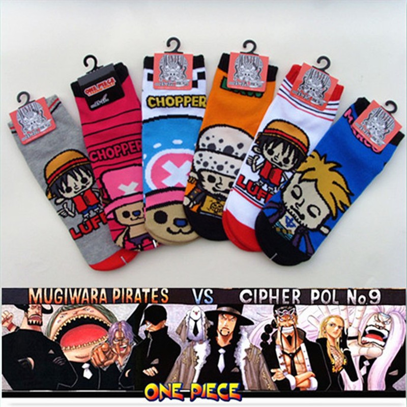 One piece Marco Cosplay cotton socks plaid striped cartoon Trafalgar Law Luffy sock summer casual personality socks funny Unisex