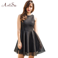 ArtSu Short Sleeveless Women Dress Sexy Net Ball Gown Party Mini Dresses Fashion Sundress Winter Autumn Beach Vestidos ASDR30467