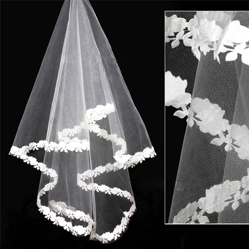 New 1 Tier White Wedding Lace Edge Bridal Elbow Veil 2019 Wedding Veils