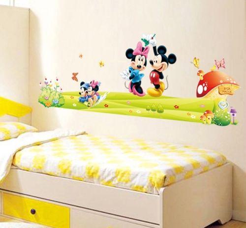 Mickey & Minnie Mouse Wall Sticker Boys Girls Kids Room Decor Mural ...