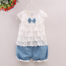 2016 New Brand Fashion Girls Clothing Sets Nice Kids Clothing Summer Suit For Girls Toddler Clothes Bow Tshirt +Short Pants Dots