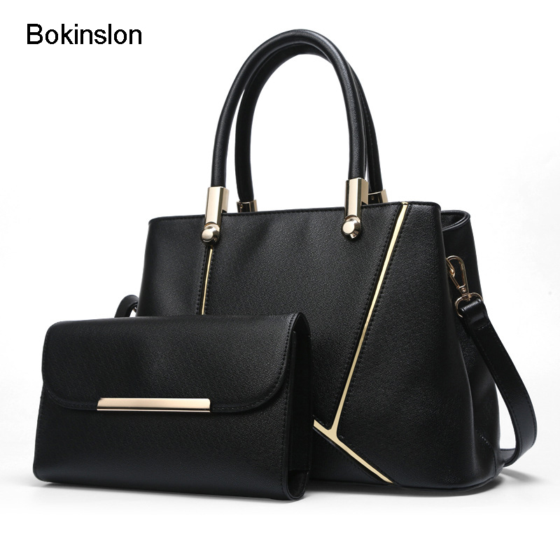 Bokinslon Fashion Handbags Woman PU Leather Solid Color Ladeis Shoulder Bags Large Capacity Simple Women Fashion Bags