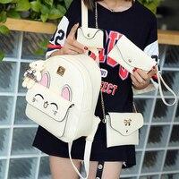 4Pcs Set Small Women Backpacks Female 2017 School Bags For Teenage Girls Black PU Leather Women