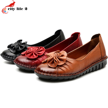 Leisure Flat With Round Leather Soft Bottom Shoes Casual Non-Slip Mother Shoes Women Middle-Aged 2016 Summer Size 41 3 Colors
