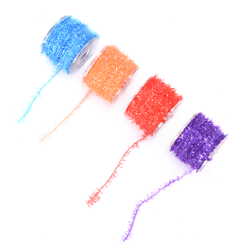 1 Roll Spooled Cactus Tinsel Chenille Yarn Crystal Flash Spiky Fly Tying Yarn Bonefish Streamer Fly Tying Materials 8 Colors