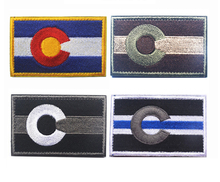 Embroidered American Colorado State Flag Patch Tactical Combat Badge Fabric National Flags Armband Badge Patch applique embroidered patches united states new york state flag patch tactical 3d national flags army armband badge