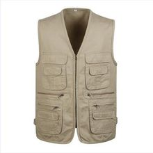 2018 new Spring and autumn mens multi-pocket vest photography cotton Plus Size S-5XL