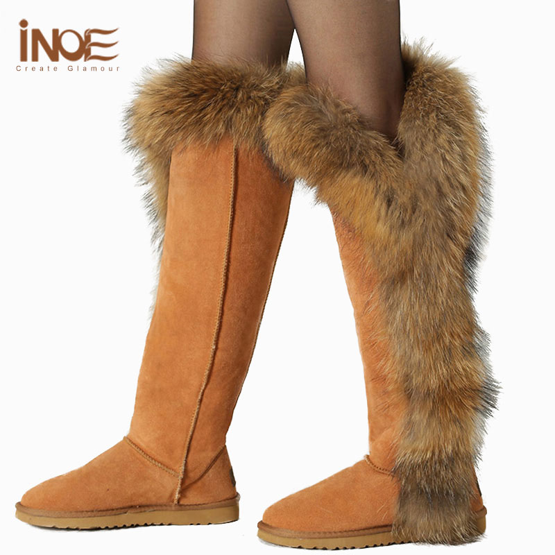 Real Fox Fur Boots Women's Thigh High Black Boots Size 11 Cow ...