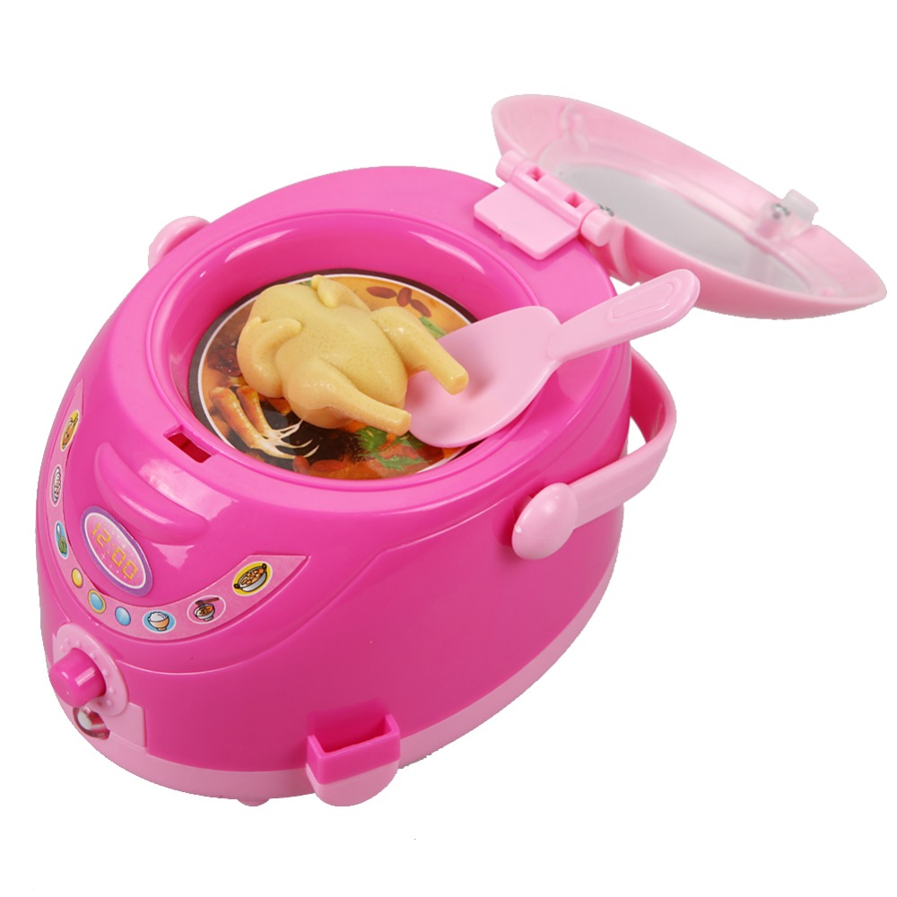 Mini Plastic Rice Cookers Kids Pretend Play Toy Pink Simulation Food Cooker Girls Educational Playing House Game Toy