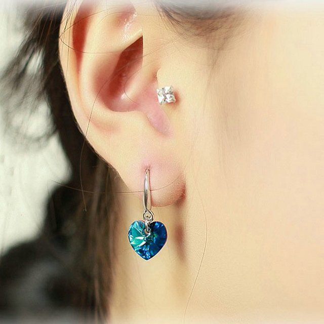 Fashion Blue Heart Shaped Women's Crystal Dangle Earrings