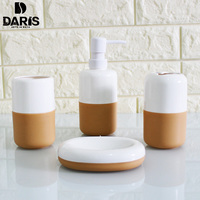 Simple Plastic Solid Color Bathroom Set 6pcs Bath Accessories Set Bathroom Products Trash Can Storage Kits