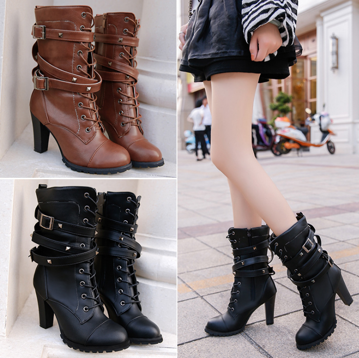 HUANQIU 2019 fashion ladies boots spring zipper rivet thick middle boots high heel Martin boots large size 43 women shoes ZLL675 4