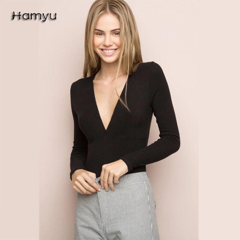 இEl envío libre 2016 otoño sexy mujeres suéter moda Deep V ...