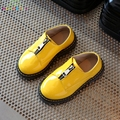 Spring Autumn Children Leather Shoes 2017 New Boys Girls Fashion England Zipper Shoes Kids Anti-Slippery Leather Shoes C233