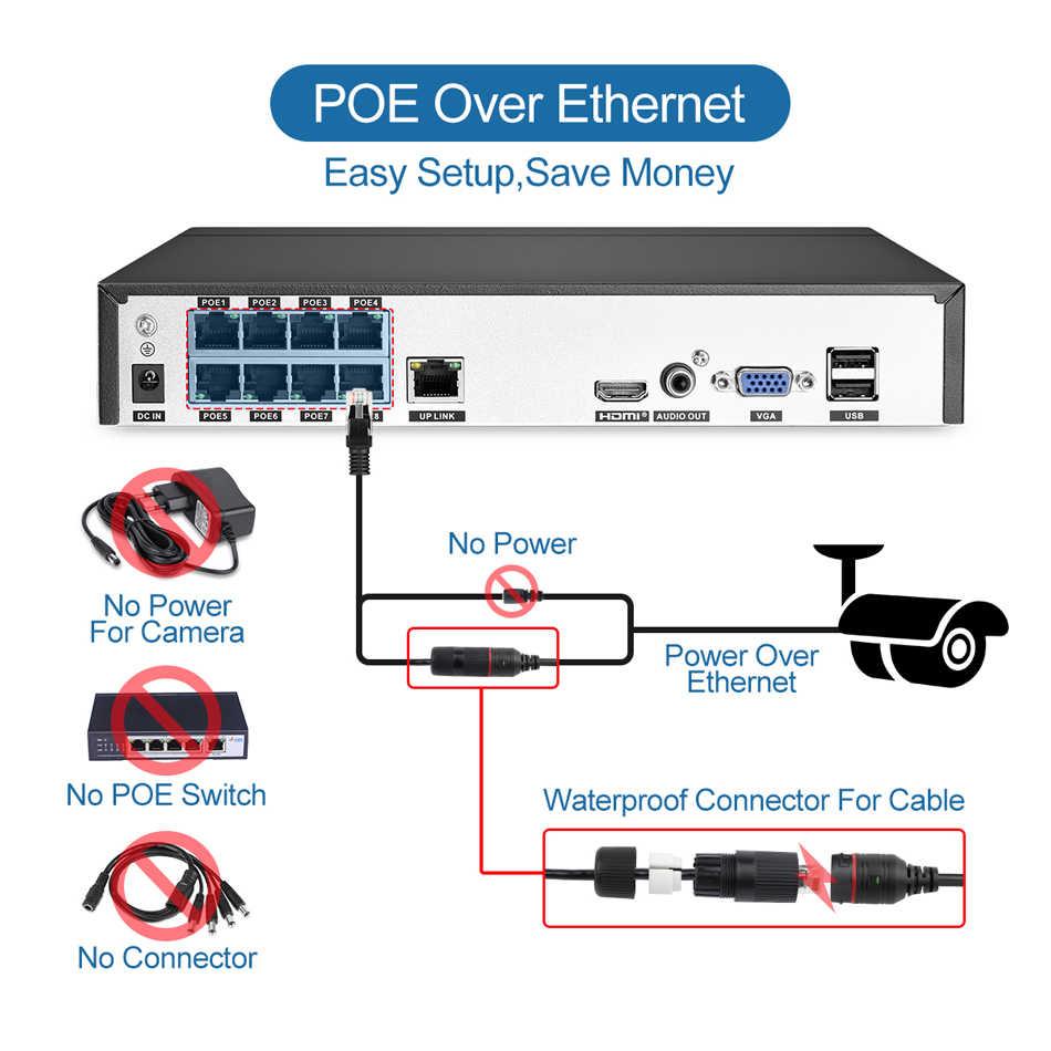 Techage H.265 8CH 5MP HD POE NVR Kit CCTV, sistema de seguridad con Audio de dos vías AI cámara IP al aire libre P2P de vigilancia de vídeo de 3TB HDD
