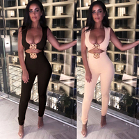 Bandage Jumpsuit High Quality Black Short Top & Pants Two 2 Pieces Set Women Suit Sleeveless Bodycon Stretch Sexy Jumpsuits 2019