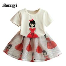 Girls Dress Summer 2017 small beauty new female children's cartoon short sleeved T-shirt +skirt two piece Kids Clothes 3-7Y